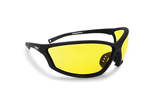 BERTONI Sportbrille Sehstärke mit Adapter für brillenträger für Radsport Motorrad Ski Golf Lauf Running - AF100 (Gelb) - Windschutz für Brillenträger
