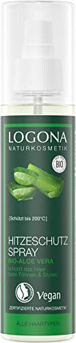 Logona Natural Cosmetics Heat Protection Spray Organic Aloe for Styling All Hair Types Effective Protection Formula, Heat Protection Complex, Vegan, 150 ml