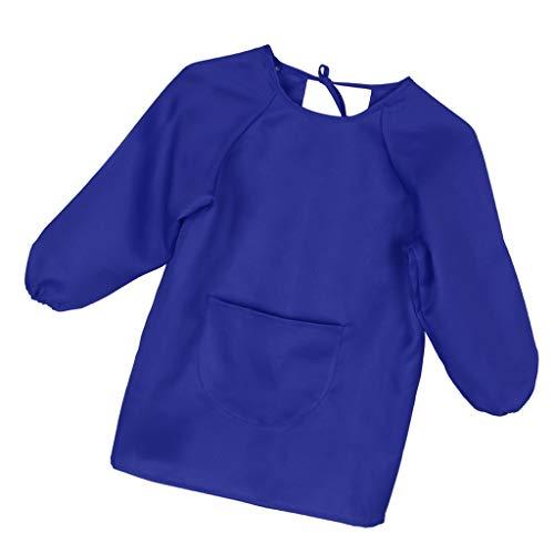 B Baosity Tablier de Peinture Bavoir Manches Longues Imperméable Blouse Enfant Bébé 1-14 Ans - Bleu - M