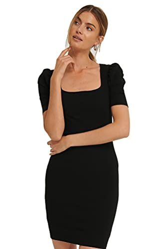Aahwan Black Solid Bodycone Puff Sleeve Mini Dress for Women...