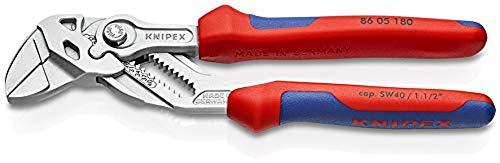KNIPEX 86 05 180 Zangenschlüssel Zange und Schraubenschlüssel in einem Werkzeug verchromt mit Mehrkomponenten-Hüllen 180 mm