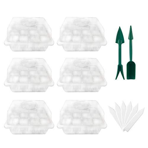 TinaDeer Zimmergewächshaus Anzuchtkasten 6 transparente Sämlingsboxen und weiße Etiketten 2 grüne Schaufel Gewächshaus Anzuchtset Treibhaus Anzuchtschale mit Deckel und Belüftung (Transparent)