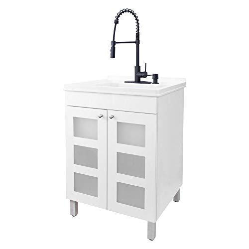 White Tehila Utility Sink Vanity, Matte Black Pull-Down Coil Faucet, Soap Dispenser and Spacious Cabinet by JS Jackson Supplies for Garage, Basement, Shop and Laundry Room