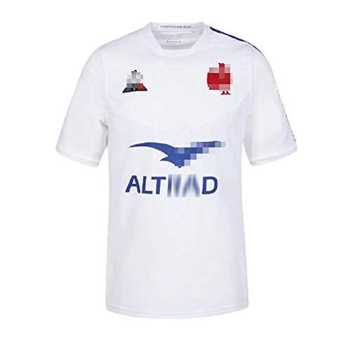 DSDFD Rugby-Trikot für Herren, neuestes Frankreich Rugby-Trikot 2021 Französisches Kurzarm-Rugby-T-Shirt aus besticktem Polyester, S-XXXXXL, Blau/Weiß XL White