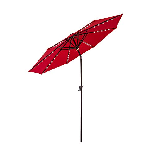 FLAME&SHADE 10 ft Outdoor Patio and Table Umbrella with Solar LED Lights and Tilt - Red