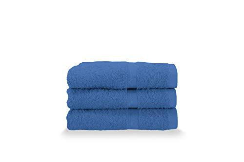 Gabel Asciugamani Ospite, Spugna di Puro Cotone Idrofilo, 40 x 60 cm, Blu Elettrico, Set da 3 Pezzi