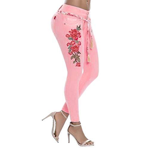 Dorical Damen Jeans mit Blumen Rosen Stickerei Skinny Jeanshose Strecken Jeans Bestickt Denim Hosen Stretch-Jeans Bleistift Hosen High Waist | Skinny Röhrenjeans| Slim Fit (Rosa,X-Large)