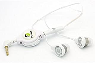 Retractable Headset Hands-free Earphones w Mic Earbuds Headphones In-Ear Wired [3.5mm] [White] for iPod Nano 5th, 7th Gen - iPod Touch 1st, 2nd, 3rd, 4th, 5th Generations - HTC 10