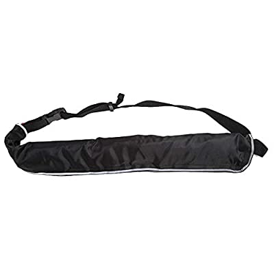 Estink 5 Colors Manual Inflatable Life Jacket Safe Swimming Waist Belt Flotation Device with Reflective Tapes and Whistle Adjustable Strap (Black)