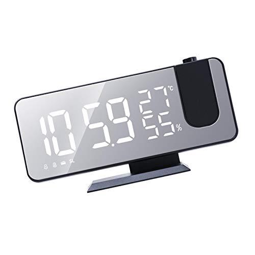 Ardorman Reloj Despertador de proyección con higrómetro de Temperatura, Reloj Digital LED con Radio FM y Puerto de Carga USB, Reloj de repetición Regulable