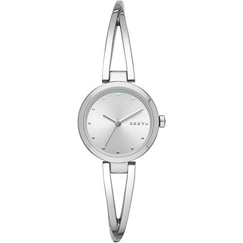 DKNY Damen-Uhren Rund Analog Quarz One Size Silber Edelstahl 32002251