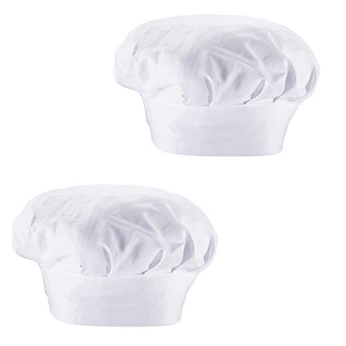 ZOLISCHE 2 Stück Kochmütze Weiß Chef Hut Einstellbar Gummiband Kochhaube Unisex Koch Hut für Küche Hotel Restaurant Arbeit Hut Männer Frauen Küchenmütze