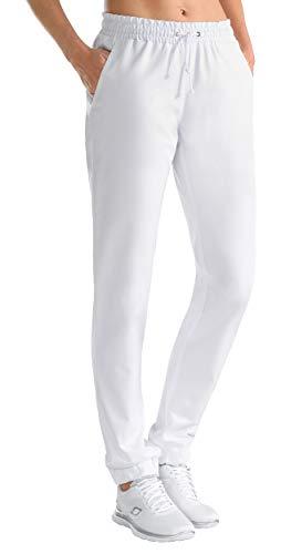 CLINIC DRESS - Hose Damen Weiß Gummibund am Saum weiß 38