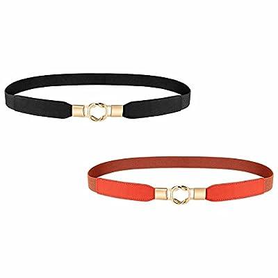 Skinny Elastic Belts for Women for Dresses, 2 P...