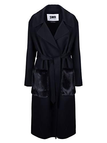 Luxury Fashion | Sword Dames 8216BLUE Donkerblauw Wol Mantels | Herfst-winter 19