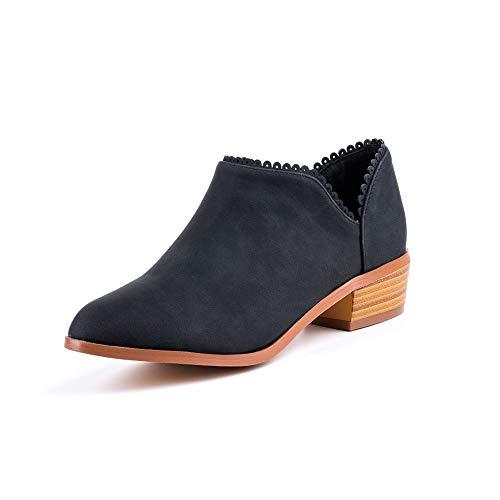 Hafiot Chelsea Boots Damen Ankle Boots Stiefeletten Kurzschaft Blockabsatz Leder Wildleder mit Absatz Kurze 3cm Stiefel Winter Beige Rosa Blau Grau 35-43 BK39