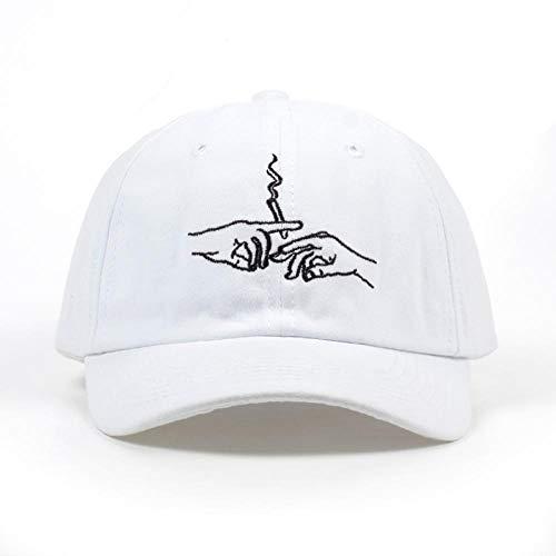 Kappe New Brand Smoke Baseball Cap Papa Hut für Männer Frauen Stickerei Hände Rauchmuster Trucker Cap Weed Bone Golf Baseball Hut Weiß