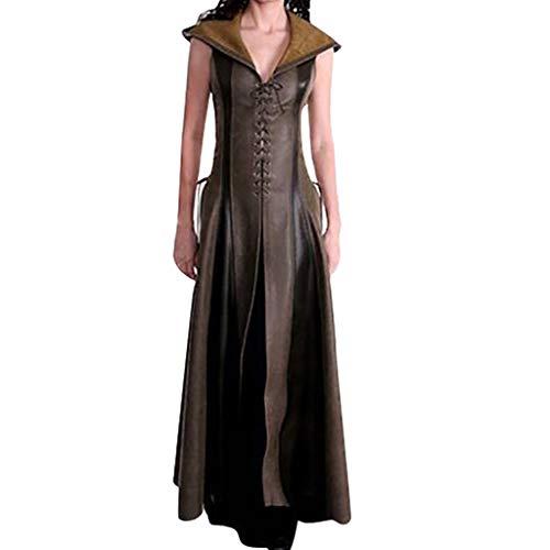 GreatestPAK Leder Kapuzen Kleid Damen Cosplay Vintage V-Ausschnitt Kostüm Cosplay Ärmellos Lang Lederrock mit Kapuze,Braun,Etiketten:L(Büste:95cm)