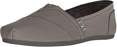 Skechers BOBS Women's Bobs Plush-Peace & Love Flat, Charcoal, 7.5 W US