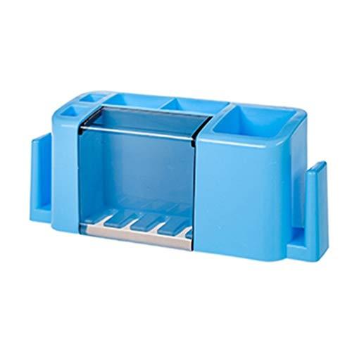 SWEEPID Organizador multifuncional para pasta de dientes y cepillo de dientes, caja organizadora de accesorios de baño para uso doméstico, azul