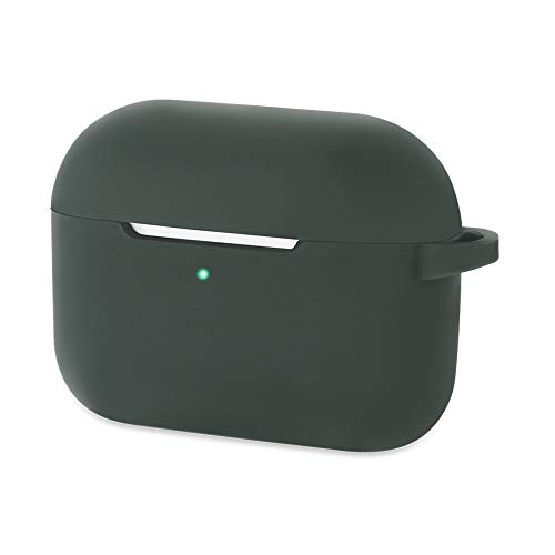 CEEPUY Case for Airpods Pro Protective Soft Silicone Earbuds Cover Stand Set Headphones Holder Accessories Compatible with Apple Earpods Pro,Midnight Green