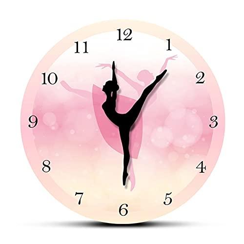 xinxin Reloj de Pared Bailarina de Ballet con números árabes Decoración de Dormitorio para niña Princesa Rosa Reloj de Pared Baile...