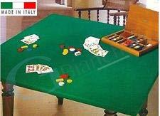 GBiancheria COPRITAVOLO Mollettone Panno Gioco Poker col. Verde Rettangolare x6 Made in Italy