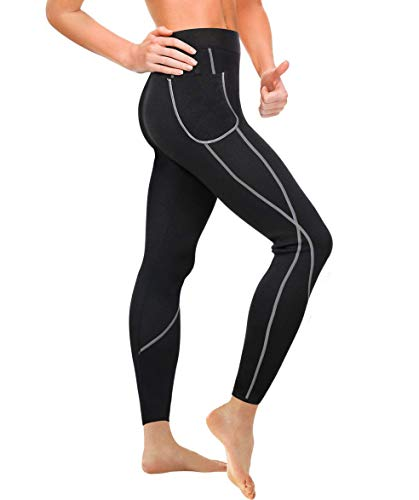 Gotoly Damen Neopren Sporthose Gewichtsverlust Sauna Hose Abnehmen Leggings Yoga Jogging Fitness Hot Thermo Sweat Gym Tights Wear Workout Body Shaper mit Taschen