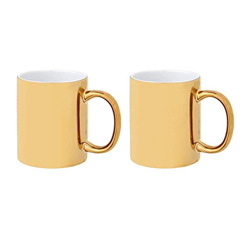 noTrash2003 2er Set Keramikbecher, versch. Farben, Kaffeetassen 350 ml glänzendes Design (Gold/Gold)