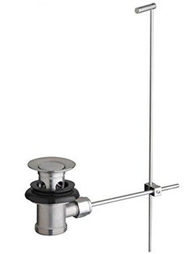 DeLanwa 607002.0 Massiv Edelstahl Ablaufgarnitur Ablauf Ablaufventil Excentergarnitur mit Zugstange für Waschtisch/Waschbecken