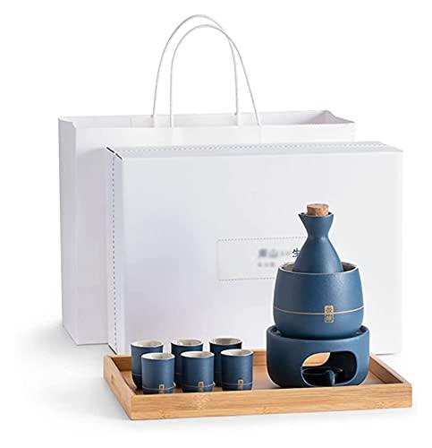 GDLQ Setsake Setsake Set Sake Sake Sake Steke Conjunto con calentador, porcelana tradicional Potería japonesa Saki Hot Saki Kit, incluye 1 estufa 1 Tazón de calentamiento 1 Botella de sake 4 taza y 1