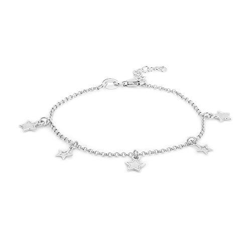 Vanbelle joyas de plata y pulsera abrir cerrar colgante estrella con rodio para mujeres y niñas
