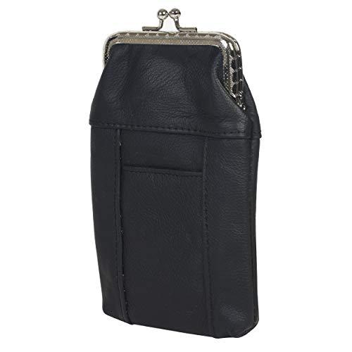 Leatherboss Genuine Leather Cigarette Case Pack Holder Regular or 100's Lighter Pocket, Black