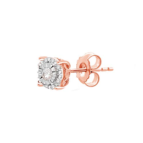 NATALIA DRAKE One Single Piercing 1/8 Cttw Round Halo Diamond Stud Earring for Men or Women in Rose Gold Plated Sterling Silver (Color IJ/Clarity I2-I3)