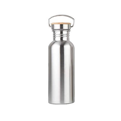 Trinkflasche Edelstahl 500ml Auslaufsicher mit Edelstahl-Bambus Schraubverschluss-Deckel, BPA Frei, für: Sport, Fahrrad, Kinder, Büro -Kein Plastik & -Kein Logo