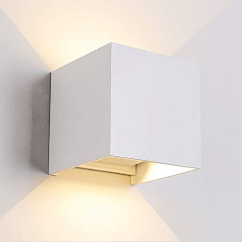 12W LED Wandleuchte Innen/Aussen Modern, Wandbeleuchtung mit einstellbar Abstrahlwinkel Up Down Design, IP 65 Wasserdichte Außenwandleuchten WandLampe 3000K Warmweiß (Weiß)