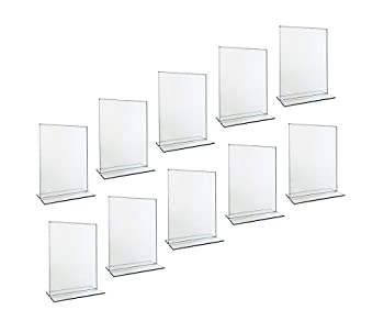 Beryland Acrylic Sign Holder - 5 x 7 inches - Side Insert 10-Pack of Sign Holders  Box of 10