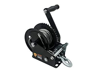 TYT 1200lb Boat Trailer Winch with Steel Cable, Hand Crank Winch with Hook, Heavy Duty 2 Gear Manual Winch with 4.1:1 Ratio for ATV UTV Trailer Truck Boat
