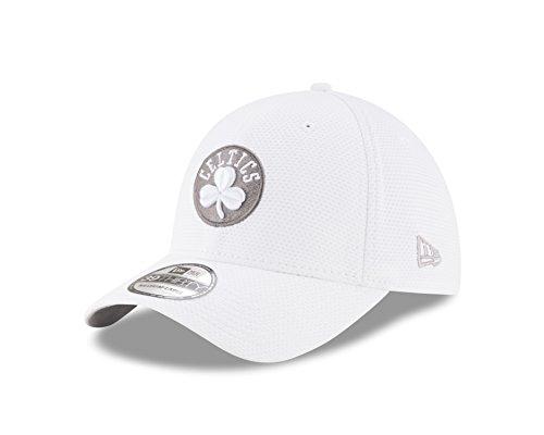 NBA Boston Celtics Adult Tone Tech Redux White 39THIRTY Stretch Fit Cap, Small/Medium, White