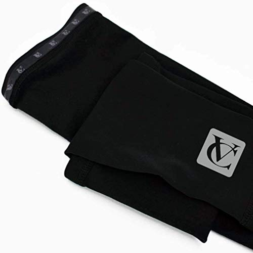 VeloChampion Thermo Tech Lite Calentadores de Brazos para Ciclismo - Negros Arm Warmers (Black, Large)