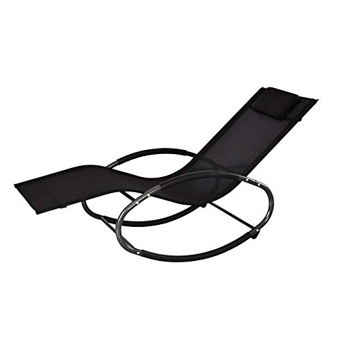 YOLANDA DIRECT Rocking Chair Patio Lounge ChairsZero Gravity Chaise Rocker with Detachable Headrest Pillow and Breathable Texteline Farbic for Indoor and OutdoorBlack