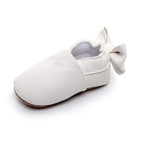XYAN Fille Chaussures bébé bébé Chaussures de Marche à Semelle Souple antidérapante PU Pure-Couleur Printemps Automne (Couleur : Blanc, Size : 12cm)
