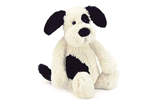 Jellycat Bashful Puppy - Peluche, M, color negro y crema