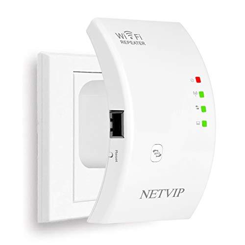 NETVIP WLAN Verstärker Netz Wireless WLAN Repeater 300Mbps/2.4GHz WLAN Range Extender Signal WLAN Verstaerker Adapter Signalverstärker(Repeater/Access Point/WPS) Unterstützt Allen WLAN Router