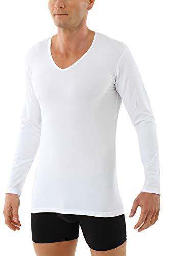 Albert Kreuz Herren Langarm-Unterhemd Bio-Baumwolle mit Elastan V-Ausschnitt weiß 05/M