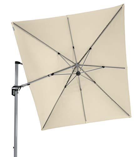 Doppler hochwertiger XXL Ampelschirm Active 350 x 260 cm in Natur, in alle Richtungen schwenkbar, UV-Schutz 50 Plus, inklusive Plattenständer