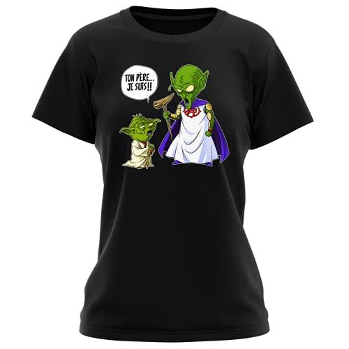 T-Shirt Femme Noir Parodie Dragon Ball Z - Star Wars - Yoda et Le Tout Puissant - Ton père, Je suis. !! (T-Shirt de qualité Premium de Taille L - imprimé en France)
