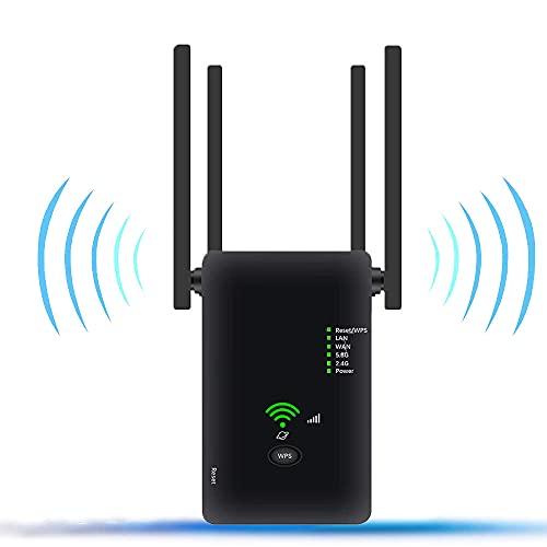KPGANA Répéteur WiFi, Amplificateur WiFi sans Fil 1200 Mbps, Prise en Charge WiFi Double Bande 2.4G et 5.8G, avec Mode AP Routeur Répéteur, Prise en Charge du Réglage à Une Touche WPS