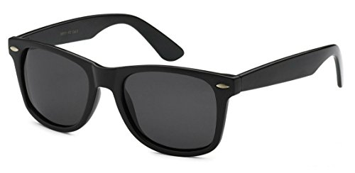 Retro Rewind Polarized Sunglasses (Black Gloss, Polarized)