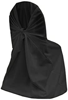 mds 10 Polyester Universal self tie Back Chair Covers Wedding Party Decorations - Black